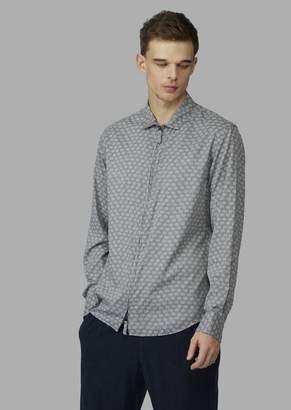 Giorgio Armani Slim-Fit Pigment-Printed Shirt With Zip