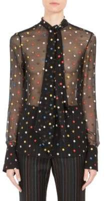 Givenchy Multicolor Dot Fil Coupé Tie-Neck Blouse