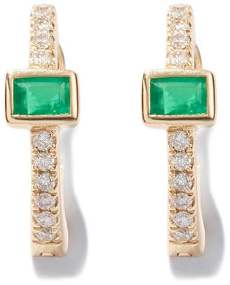 Jacquie Aiche Emerald Baguette-Center Huggies Earring