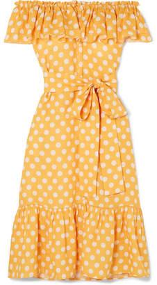 Lisa Marie Fernandez Mira Off-the-shoulder Polka-dot Linen Midi Dress - Orange