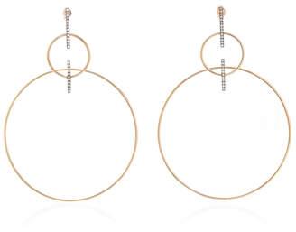Diane Kordas Double Hoop Earrings With Diamond Bar