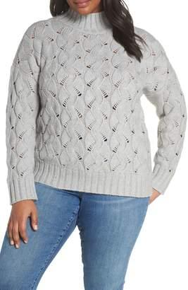 Vince Camuto Texture Stitch Mock Neck Sweater