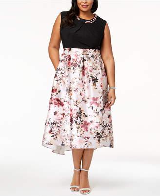 Sl Fashions Plus Size Floral-Print & Solid Necklace Dress