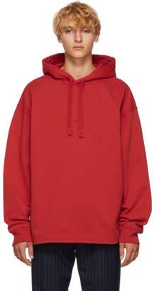 Acne Studios Red Distressed Logo Hoodie