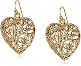 Michael Kors 1928 Jewelry Puffed Filligree Heart Earrings