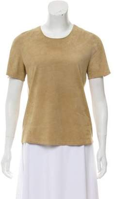 Maison Margiela Suede-Paneled Short Sleeve Top