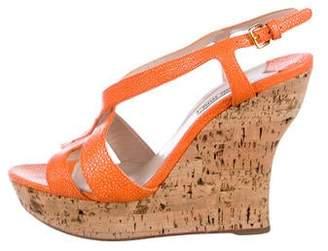 Miu Miu Embossed Wedge Sandals