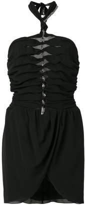 Saint Laurent embellished ruched halter dress