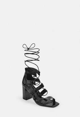 Missguided Black Patent Croc Ghillie Mid Heel Sandals