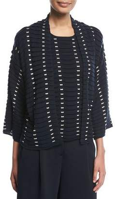 Emporio Armani Open-Front Long-Sleeve Easy Jacquard Knit Cardigan