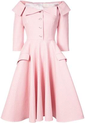 Sara Battaglia Off The Shoulder Gingham Dress