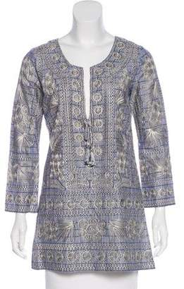 Calypso Embroidered Long Sleeve Tunic