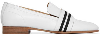 rag & bone - Amber Grosgrain-trimmed Leather Loafers - White $395 thestylecure.com