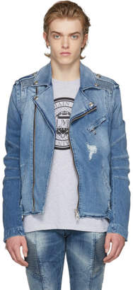 Pierre Balmain Blue Denim Biker Jacket
