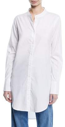 Veronica Beard Ellis Button-Front Long Poplin Tunic