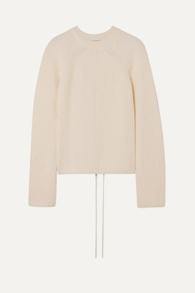 McQ Lace-up Ribbed Cotton Sweater - Off-white