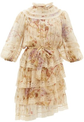 Zimmermann Sabotage Lace Trimmed Floral Print Silk Mini Dress - Womens - Cream Print