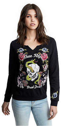 True Religion WOMENS EMBROIDERED FLORAL ZIP UP HOODIE