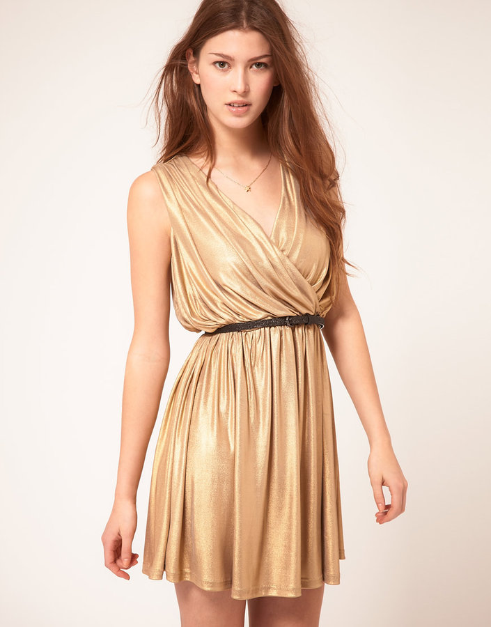 Rare Metallic Wrap Dress
