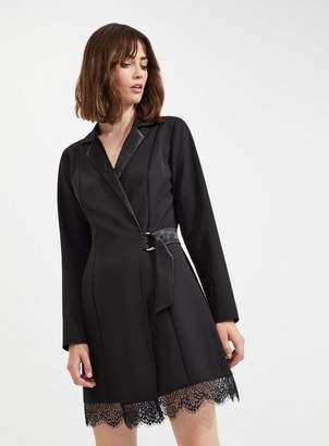 Miss Selfridge Black tuxedo lace hem dress