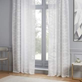 west elm Semi-Sheer Clipped Jacquard Curtain - Stone White