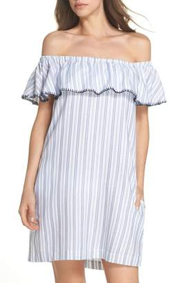 Tommy Bahama Ticking Stripe Off the Shoulder Cover-Up Dress