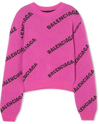 Balenciaga Intarsia Virgin Wool Sweater - Pink