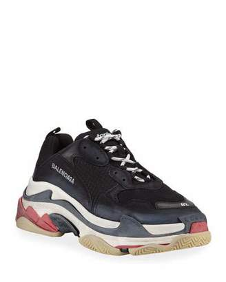 Balenciaga Triple S Mesh & Leather Trainer Sneaker, Noir