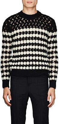 Saint Laurent Men's Striped Open-Knit Sweater - Black