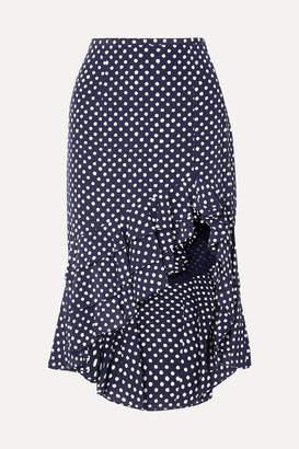 Michael Kors Rumba Ruffled Asymmetric Polka-dot Silk Crepe De Chine Skirt - Navy
