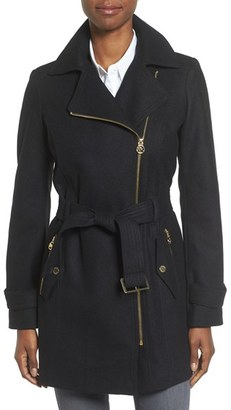 Women's Michael Michael Kors Belted Asymmetrical Wool Blend Coat $240 thestylecure.com
