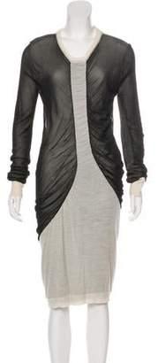 Isabel Marant Semi-Sheer Long Sleeve Knee-Length Dress