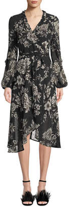 Bardot Blouson-Sleeve Floral-Print Faux-Wrap Dress