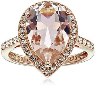 clear Rose-Gold-Plated Sterling Silver Crystal and Crystal Pear Shape Ring