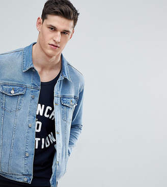 Asos Design Tall Skinny Fit Denim Jacket In Light Wash