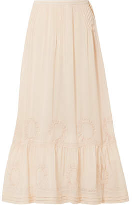 LoveShackFancy Hillary Embroidered Silk-georgette Maxi Skirt - Beige