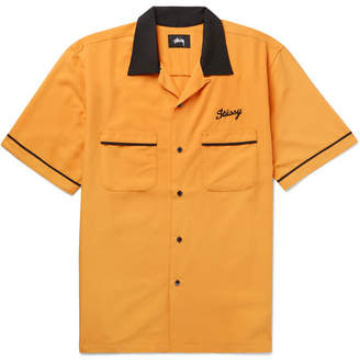Stussy Camp-Collar Contrast-Trimmed Matte-Satin Shirt