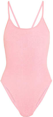 HUNZA G - Bette Bow-embellished Seersucker Swimsuit - Baby pink