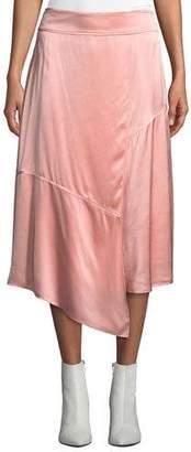 Derek Lam 10 Crosby Draped Asymmetric Satin Midi Skirt