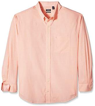Izod Men's Big and Tall Essential Gingham Long Sleeve Shirt (Slim)