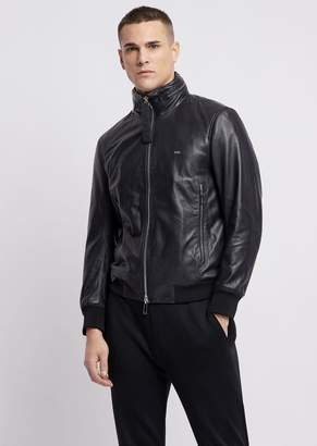 Emporio Armani Leather Bomber Jacket With Concealed Hood
