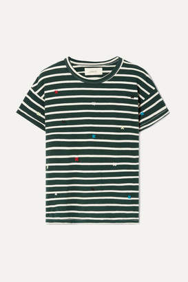 The Great The Boxy Crew Embroidered Striped Cotton-jersey T-shirt - Emerald