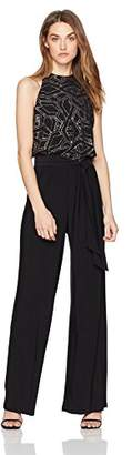 Nine West Women's Sparkle Printed Midi Jumpsuit with Self Sash, Black/Gold
