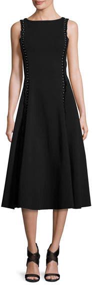 Ralph Lauren Studded Heavy Jersey Midi Dress, Black