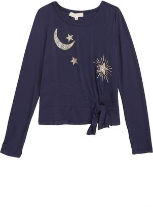 Truly Me Moon & Stars Tie Front Top