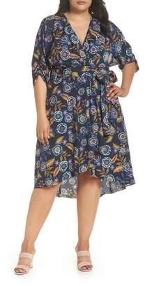 Eliza J Floral High/Low Wrap Dress
