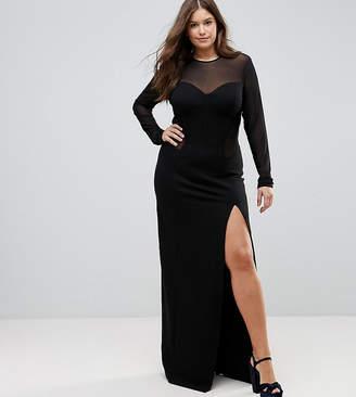 Taller Than Your Average TTYA BLACK Plus Corset Mesh Insert Maxi Bodycon Dress
