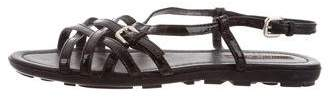 Prada Sport Patent Leather Crossover Strap Sandals