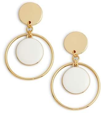 Halogen Double Disc with Hoop Drop Earrings