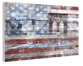 Parvez Taj Patriotic Overlay White Wood Print